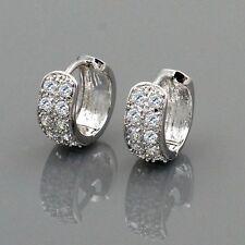 18K White Gold Plated Clear CZ Women Stud Hoop Earrings