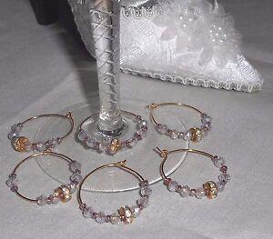 Bride Groom Rhinestone Gold Eternity Wedding Band Napkin Wine Glass Charms