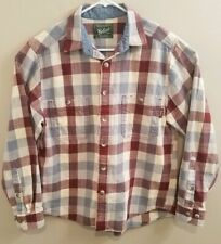 Woolrich Flannel Shirt Mens Medium Red Blue Plaid Long Sleeve Button