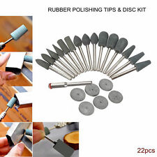22Pcs Rubber Polishing Tips & Discs Kit Drill Bits For Hobby Rotary Tools (30)