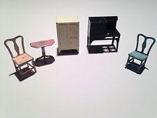 Lot of 5 Antique TootsieToy Dollhouse miniature furniture Kitchen Oven Icebox