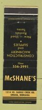 Matchbook Cover - McShane's Construction Machinery Omaha NE WEAR