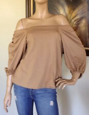 UNIQLO WOMEN BROWN 2-WAY 3/4 SLEEVE OFF SHOULDER T-SHIRT NWT SIZE XS