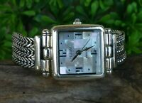 ECCLISSI STERLING SILVER MOTHER OF PEARL MOSAIC DIAL BRACELET WATCH 37.9 GRAMS