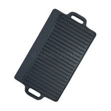 Non stick Cast Iron Grill Griddle Plate Pan Reversible BBQ Steak Gas Hob