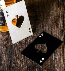 x2 Novelty Bottle Cap Opener Wallet - Stainless Steel Ace of Spades Poker Card