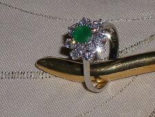 Traumhaft-schöner Smaragd-Diamant-Princess-Ring  Weissgold    - Gr. 18 -