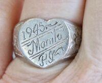 WW II MILITARY TRENCH ART SWEETHEART HEART RING 1945 MANILA PHILIPPINE ISLANDS