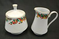 Home Accents Fine China Sugar and Creamer Set Holiday Ribbon Christmas Gold Trim