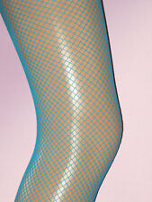 Bright Neon Turquoise Fishnet Tights. Ladies 8-12. NEW dancer blue