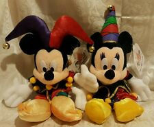 "Disney JESTER MICKEY & MINNIE Tokyo Disneyland Plush Beanies Set 12"" tall"