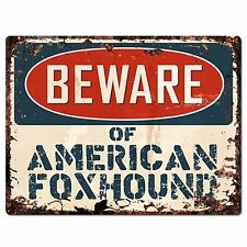 Pp2257 Beware of American Foxhound Plate Chic Sign Home Store Wall Decor Gift