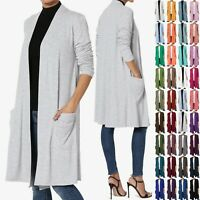 TheMogan S~3X Casual Long Sleeve Pocket Open Front Jersey Knit Cardigan Duster