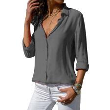 Fashion Womens Long Sleeve Button Down Shirts Blouse Casual V Neck Shirts Tops
