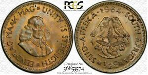 1964 SOUTH AFRICA 1/2 CENT BU UNCIRCULATED PCGS MS64 TONED ONLY 8 GRADED HIGHER