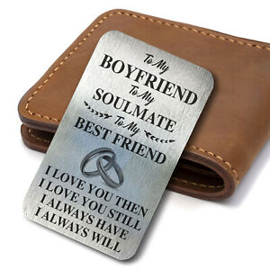 Perfect Valentines Day Gift For Him Her Anniversary Present Metal Card Keepsake