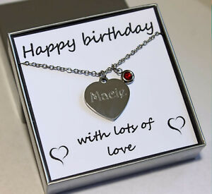 Personalised Necklace Birthstone Charm ENGRAVED Jewellery Birthday Gift FREEPOST