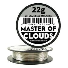 SS 316L - 25 ft. 22 Gauge AWG Stainless Steel Resistance Wire 0.64 mm 22g 25'