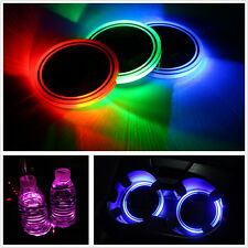 2pcs USB Charge 7 Colors RGB LED Car Cup Holder Bottom Pad Mat Switchable Lights