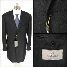 Mens CANALI Gray Flannel Wool Water Resistant 3Btn Over Coat Jacket 50 40 M NWT