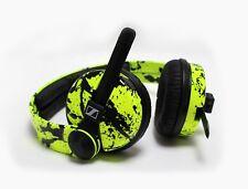 Custom Cans UV Yellow + Black Splatter HD25 2016 DJ Headphones with 2yr warranty