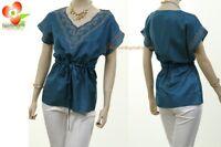 Mocha Teal Renaissance Cotton Embroidered Drawstring Peasant Blouse Shirt Top