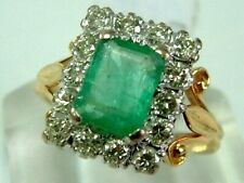 VINTAGE 18CT YELLOW GOLD ART DECO LOOK EMERALD DIAMONDS RECTANGLE CLUSTER RING