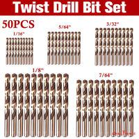 """50PCS Cobalt Drill Bit Set 1/16""""-1/8"""" HSSCO Multi Drill Bits Twist Metal Tools"""