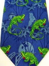 Green Lizard Mens Tie Dark Blue Background Hut Moon Red Dewlap Addiction Brand