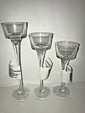 One Set of 3 Long-Stem Glass Tealight Candle holders..Free Shipping..