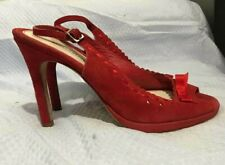 BANANA REPUBLIC RED GENUINE LEATHER SUEDE VERO CUOIO HEEL SHOES SANDALS ITALY6,5