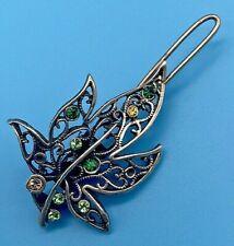 Vintage Sterling 925 Silver Rhinestone Leaf Design Hair Pin Clip