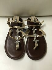 BRAND NEW Abercrombie & Fitch Crystals Metallic Strap Ladies Sandals Size Sm 7/8