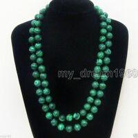 Beautiful 10mm Green Malachite Natural Gemstone Round Beads Necklace 33'' Long