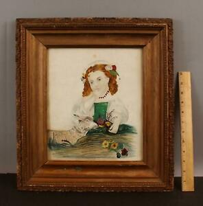 19thC Antique Folk Art Primitive Drawing Watercolor Painting Young Girl & Lamb