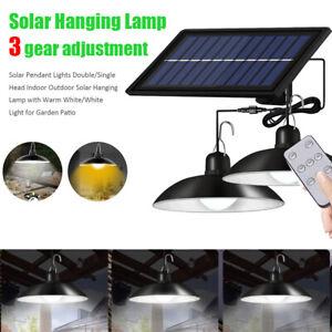 Solar Pendant Lights Double/Single Head Indoor Outdoor Solar Hanging Lamp New