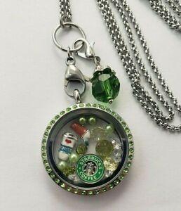 CliPons Living Memory Floating Teardrop Locket Pendant Necklace Crystal 316L Stainless Steel Rainbow