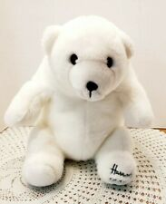 "Harrods London Stuffed Bear Dated 1989 Snowy White Plush Polar Bear 13"" seated"