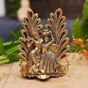 Collectible India Peacock Design Radha Krishna Idol Showpiece with Diya For Puja