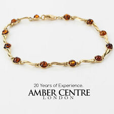 ITALIAN MADE BALTIC AMBER BRACELET IN 9CT GOLD -GBR048 RRP£375!!!