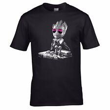 DJ Baby Groot T-shirt - Headphones Music Guardians Party Disco Yoda Mixing Decks 4xl Black