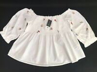 Dorothy Perkins Blouse 14s  Embroidered Flower Elasticated Top Bardot Style BNWT