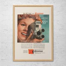 VINTAGE KEYSTONE CAMERA AD - Retro Movie Camera Ad - 8mm Camera Poster