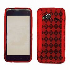 For HTC Droid Incredible 4G LTE TPU CANDY Gel Flexi Skin Case Cover Red Plaid