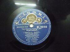 OMANAKKUTTAN  DEVARAJAN  MALAYALAM FILM GE 36193 RARE 78 RPM RECORD COLUMBIA VG+
