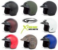 Gmax GM2 Helmet Open Face 3 Snap Motorcycle Helmet Round Oval DOT XS-4XL