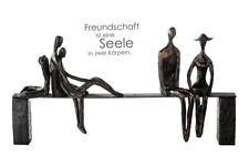59772 Escultura Leisure Poli Metal Negras Banco con Colores Bronce Figuras