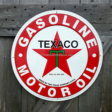 """Texaco Gasoline Gas Motor Oil Texas Company Large 24"""" Round Embossed Metal Sign"""