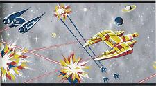 Star Wars Theme Spaceship Space Planets Kids Metallic Silver Wallpaper Border