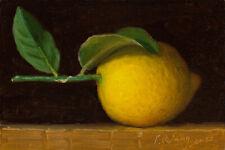 small original daily painting fruit realism still life lemon 6x4 Y Wang fine art
